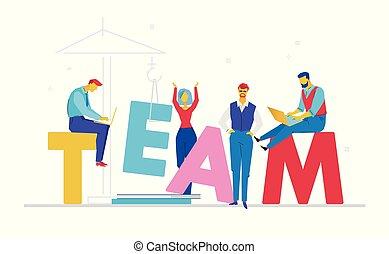 apartamento, estilo, coloridos, -, ilustração, desenho, equipe