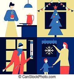 apartamento, estilo, coloridos, -, ilustração, desenho, tempo, natal