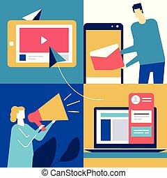 apartamento, estilo, coloridos, marketing, -, ilustração, desenho, digital