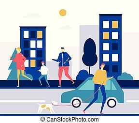 apartamento, estilo, coloridos, pessoas, -, ilustração, executando, desenho