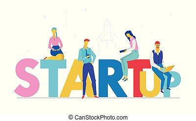 apartamento, estilo, coloridos, startup, -, ilustração, desenho