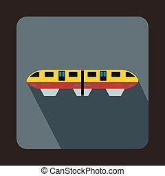 apartamento, estilo, coloridos, trem, ícone, monorail