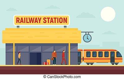 apartamento, estilo, conceito, bandeira, estação, estrada ferro