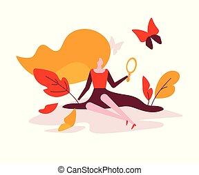 apartamento, estilo, conceito, beleza, coloridos, -, ilustração, desenho