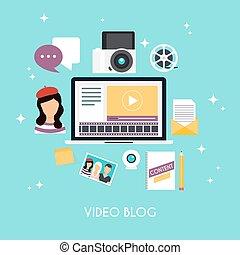apartamento, estilo, conceito, concept., modernos, ilustração, blog, infographics., vetorial, vídeo, modelo, desenho, blogging, design.