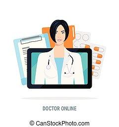 apartamento, estilo, conceito, doutor, vetorial, online