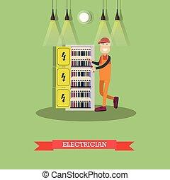 apartamento, estilo, conceito, eletricista, ilustração, vetorial