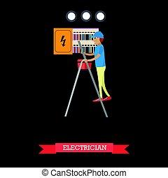 apartamento, estilo, conceito, eletricista, ilustração, vetorial, profissional