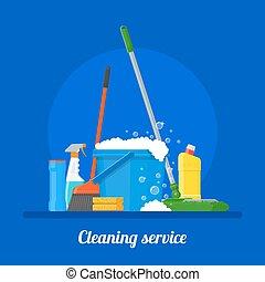 apartamento, estilo, conceito, illustration., serviço, casa, companhia, vetorial, desenho, limpeza, cartaz, ferramentas