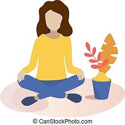 apartamento, estilo, conceito, ilustração, vetorial, meditação