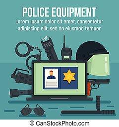 apartamento, estilo, conceito, polícia, equipamento, fundo