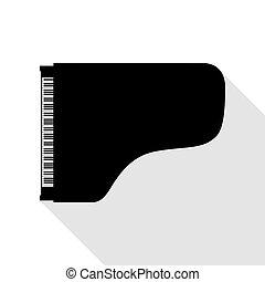 apartamento, estilo, concerto, sinal., pretas, piano grande, path., sombra, ícone