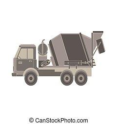 apartamento, estilo, concreto, equipment., isolado, misturador, machinery., experiência., construção, caminhão, icon., branca, especiais