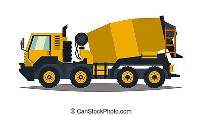 apartamento, estilo, concreto, mixer., equipment., isolado, amarela, machinery., experiência., construção, caminhão, branca, especiais