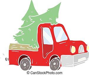 apartamento, estilo, cor, árvores, caricatura, pickup, carregar, caminhão, natal