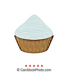 apartamento, estilo, cupcake, ícone