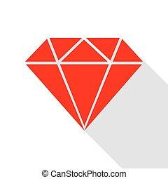 apartamento, estilo, diamante, illustration., sinal, sombra, path., vermelho, ícone