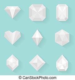apartamento, estilo, diamond., branca, set., ícone