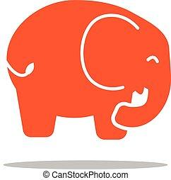 apartamento, estilo, elefante, vermelho, ícone