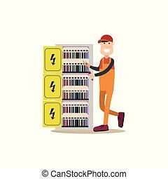 apartamento, estilo, eletricista, ilustração, vetorial, profissional