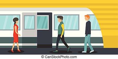 apartamento, estilo, estação metro, horizontais, bandeira
