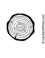 apartamento, estilo, fatia, toco, madeira, seção, árvore, crucifixos, ilustração, isolado, experiência., vetorial, tronco, natural, branca, circle.