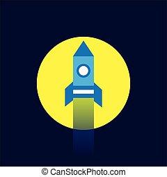 apartamento, estilo, foguete, voando, lua, ícone