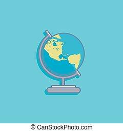 apartamento, estilo, globo, ilustração, vetorial, desenho, terra