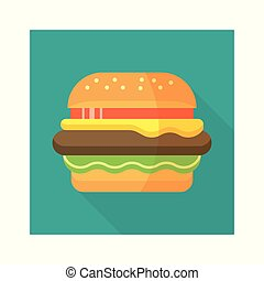 apartamento, estilo, hamburger, illustration., burger., longo, hambúrguer, vetorial, desenho, gostosa, shadow., ícone