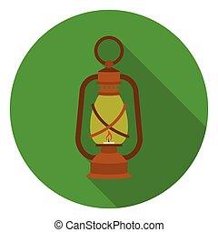 apartamento, estilo, illustration., ícone, símbolo, mina, isolado, experiência., vetorial, branca, lanterna, estoque