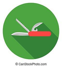 apartamento, estilo, illustration., acampamento, símbolo, isolado, experiência., vetorial, branca, ícone, faca, estoque