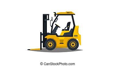 apartamento, estilo, illustration., car, forklift, comercial, isolado, vehicles., machinery., experiência., loader., vetorial, construção, branca