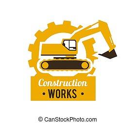 apartamento, estilo, illustration., escavador, gear., equipment., contra, local., vetorial, fundo, construção, logo., especiais