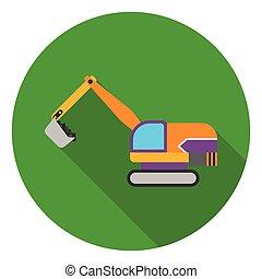 apartamento, estilo, illustration., escavador, símbolo, isolado, mina, experiência., vetorial, branca, ícone, estoque