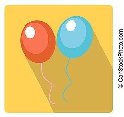 apartamento, estilo, illustration., experiência., isolado, longo, sombras, vetorial, branca, ícone, balões, celebração