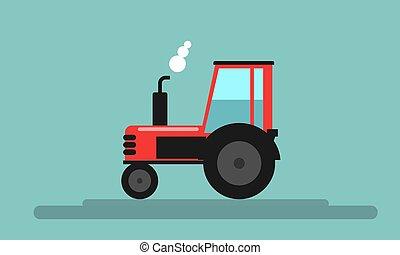 apartamento, estilo, illustration., fazenda, tractor., cor, vetorial, vermelho