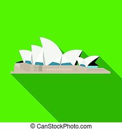 apartamento, estilo, illustration., países, casa ópera, símbolo, isolado, experiência., vetorial, sydney, branca, ícone, estoque
