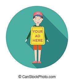 apartamento, estilo, illustration., símbolo, isolado, experiência., vetorial, anunciando, human, billboard, branca, ícone, estoque