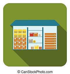 apartamento, estilo, illustration., símbolo, isolado, experiência., vetorial, logistic, armazém, branca, ícone, estoque