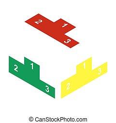 apartamento, estilo, illustration., sofá, isometric, sinal amarelo, verde, icon., vermelho