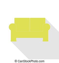apartamento, estilo, illustration., sofá, pêra, sinal, sombra, path., ícone
