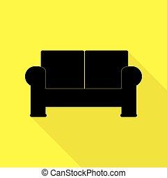 apartamento, estilo, illustration., sofá, sinal amarelo, experiência., pretas, caminho, sombra, ícone