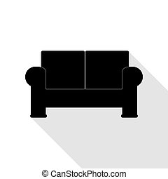 apartamento, estilo, illustration., sofá, sinal, pretas, sombra, path., ícone