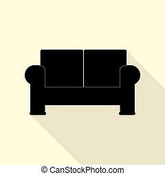 apartamento, estilo, illustration., sofá, sinal, pretas, white., ícone