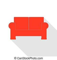 apartamento, estilo, illustration., sofá, sinal, sombra, path., vermelho, ícone
