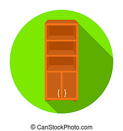 apartamento, estilo, Ilustração, escritório, Símbolo, isolado, fundo, estante de livros,  rastr,  Interior, ícone, branca, mobília, estoque