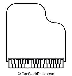 apartamento, estilo, imagem a cores, ilustração, simples, pretas, piano grande, ícone