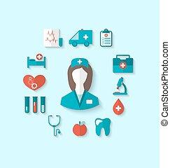 apartamento, estilo, jogo, ícones, simples, médico, modernos, longo, objetos, enfermeira, sombra