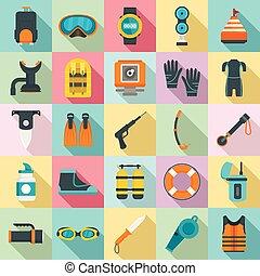 apartamento, estilo, jogo, equipamento, snorkeling, ícone