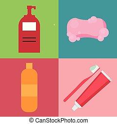 apartamento, estilo, jogo, higiene, itens